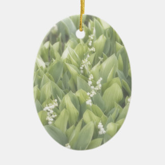 Lily of the Valley Flower Patch in Fog Ceramic Oval Ornament