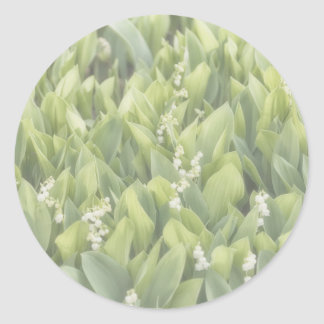 Lily of the Valley Flower Patch in Fog Classic Round Sticker