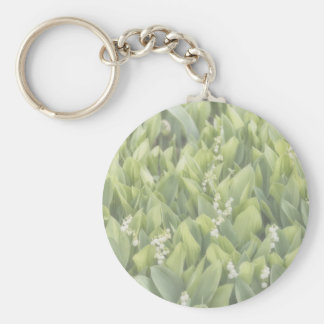 Lily of the Valley Flower Patch in Fog Keychain