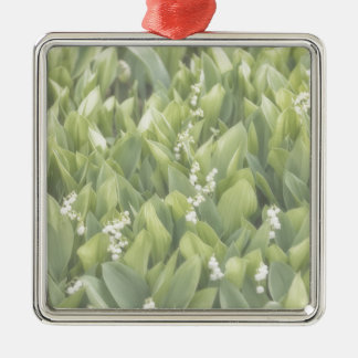 Lily of the Valley Flower Patch in Fog Metal Ornament
