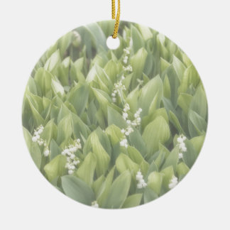 Lily of the Valley Flower Patch in Fog Round Ceramic Ornament