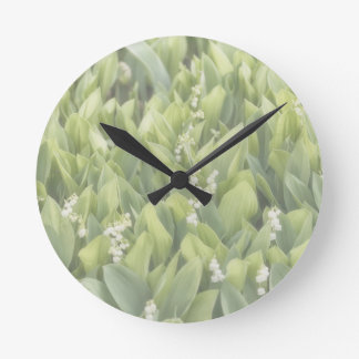 Lily of the Valley Flower Patch in Fog Round Clock
