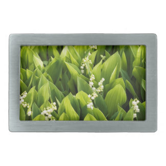 Lily of the Valley Flower Patch Rectangular Belt Buckle