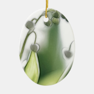 Lily of the Valley Flower Repetition Sketch Ceramic Oval Ornament
