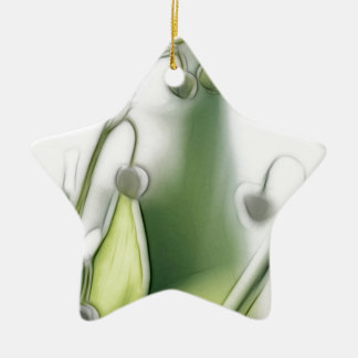 Lily of the Valley Flower Repetition Sketch Ceramic Star Ornament
