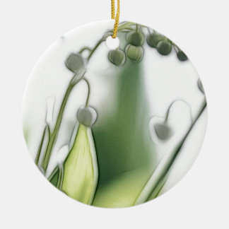Lily of the Valley Flower Repetition Sketch Round Ceramic Ornament