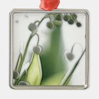 Lily of the Valley Flower Repetition Sketch Silver-Colored Square Ornament