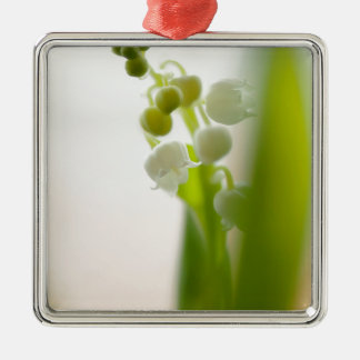 Lily of the Valley Flower Silver-Colored Square Ornament