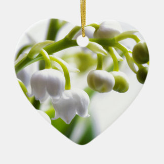 Lily of the Valley Flowers Ceramic Heart Ornament