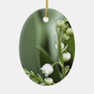 Lily of the Valley Flowers Ceramic Oval Ornament