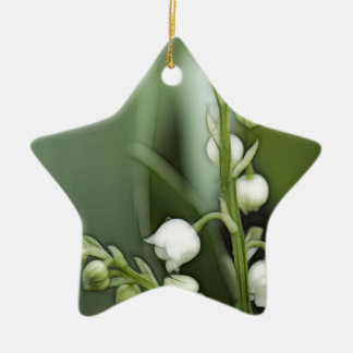 Lily of the Valley Flowers Ceramic Star Ornament