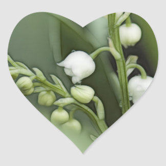 Lily of the Valley Flowers Heart Sticker