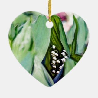 Lily of the Valley Flowers Hidden in the Leaves Ceramic Heart Ornament