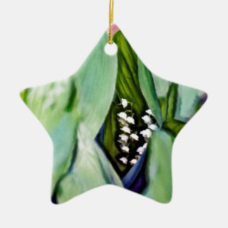 Lily of the Valley Flowers Hidden in the Leaves Ceramic Star Ornament