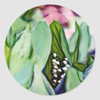 Lily of the Valley Flowers Hidden in the Leaves Classic Round Sticker