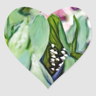 Lily of the Valley Flowers Hidden in the Leaves Heart Sticker