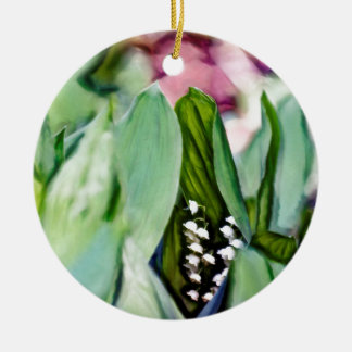 Lily of the Valley Flowers Hidden in the Leaves Round Ceramic Ornament