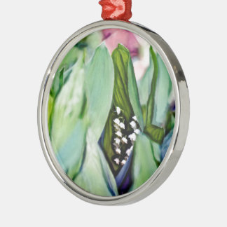 Lily of the Valley Flowers Hidden in the Leaves Silver-Colored Round Ornament