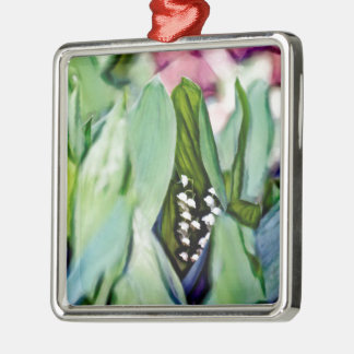 Lily of the Valley Flowers Hidden in the Leaves Silver-Colored Square Ornament