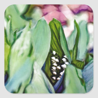 Lily of the Valley Flowers Hidden in the Leaves Square Sticker