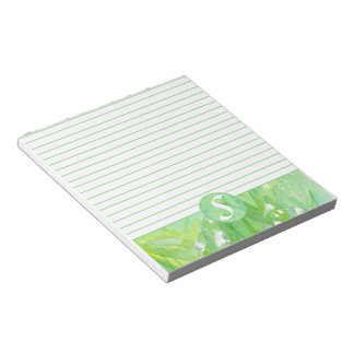 Lily of the Valley Flowers Monogram Lined Notepad