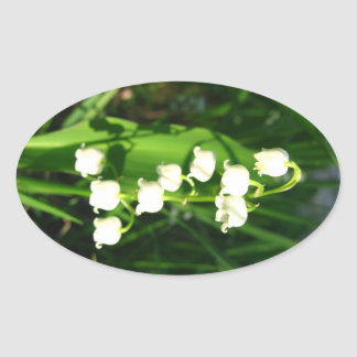 Lily Of The Valley Flowers Oval Sticker