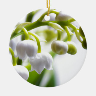 Lily of the Valley Flowers Round Ceramic Ornament