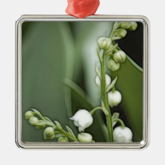 Lily of the Valley Flowers Silver-Colored Square Ornament