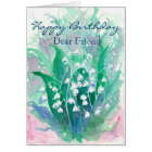 Lily of the Valley Happy Birthday Dear Friend Card