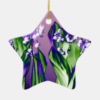 Lily of the Valley in Lavender Ceramic Star Ornament