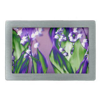 Lily of the Valley in Lavender Rectangular Belt Buckle