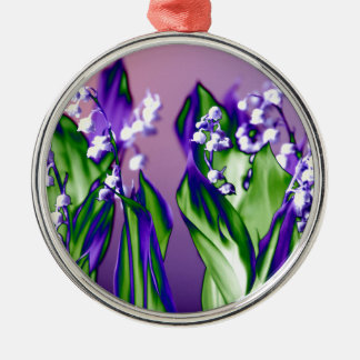 Lily of the Valley in Lavender Silver-Colored Round Ornament