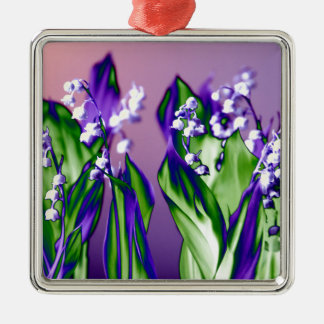 Lily of the Valley in Lavender Silver-Colored Square Ornament