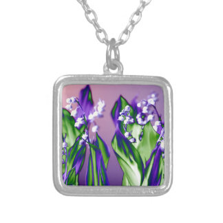 Lily of the Valley in Lavender Silver Plated Necklace