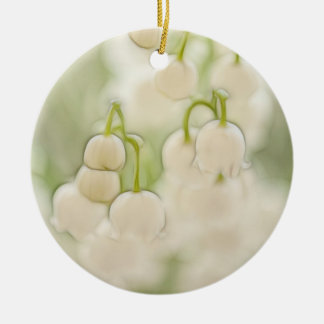 Lily of the Valley in Lavender Sketch Round Ceramic Ornament