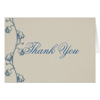 Lily of the Valley on Ecru Linen Thank You Card