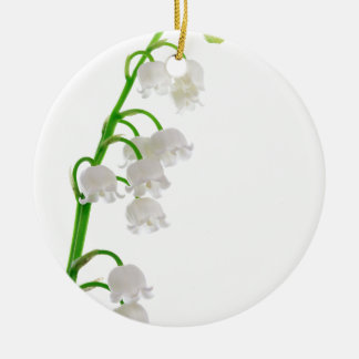 Lily Of The Valley Round Ceramic Ornament