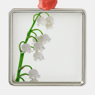 Lily Of The Valley Silver-Colored Square Ornament