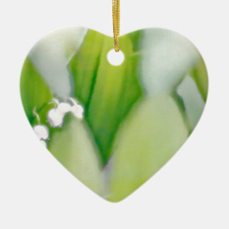 Lily of the Valley Sketch Ceramic Heart Ornament