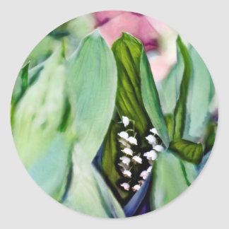 Lily of the Valley Sketch Classic Round Sticker