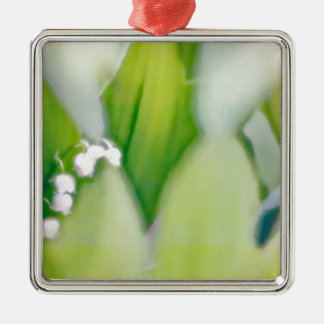 Lily of the Valley Sketch Silver-Colored Square Ornament