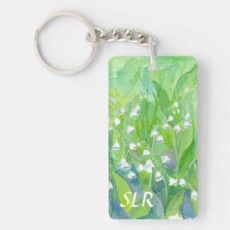 Lily of the Valley Watercolor Painting Monogram Double-Sided Rectangular Acrylic Keychain