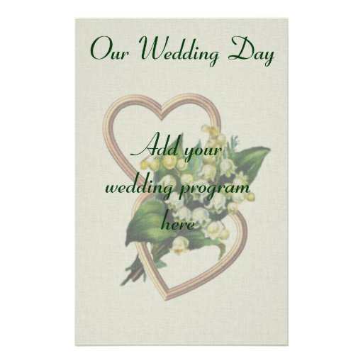 Lily of the Valley Wedding Program Personalized Stationery