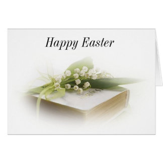 lily of the valley with bible Happy Easter Card