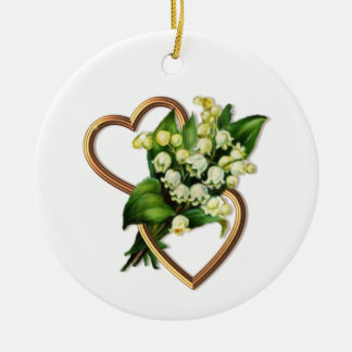 Lily of the Valley with Two Hearts Ceramic Ornament