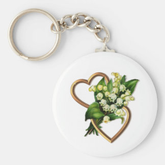 Lily of the Valley with Two Hearts Keychain