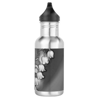 Lily of Valley Mirrored Black and White 532 Ml Water Bottle