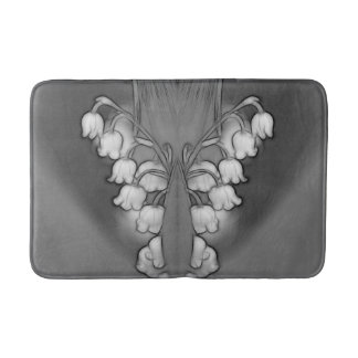 Lily of Valley Mirrored Black and White Bath Mat