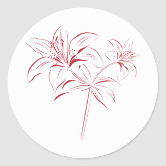 Lily Outline Classic Round Sticker