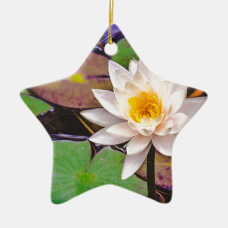 Lily pad on the water ceramic ornament